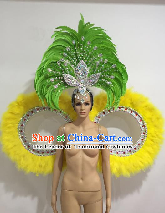 Brazilian Catwalks Props Rio Carnival Samba Dance Feather Wings and Headwear for Women