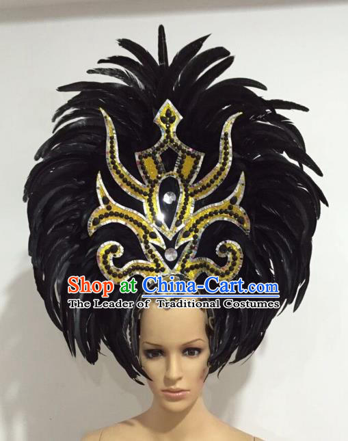 Brazilian Carnival Catwalks Black Ostrich Feather Headdress Rio Samba Dance Deluxe Hair Accessories for Women