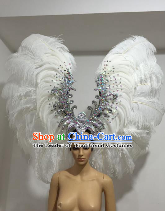 Brazilian Carnival Catwalks White Ostrich Feather Headdress Rio Samba Dance Deluxe Hair Accessories for Women