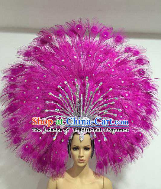 Brazilian Carnival Catwalks Rosy Feather Peacock Headdress Rio Samba Dance Deluxe Hair Accessories for Women