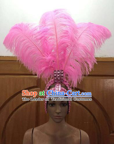 Top Grade Handmade Catwalks Hair Accessories Brazilian Rio Carnival Samba Dance Pink Feather Headdress for Women