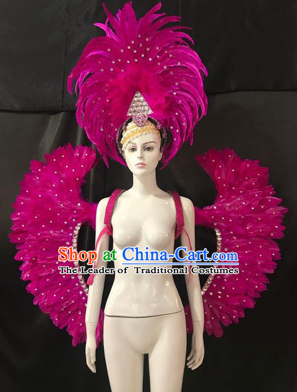Brazilian Rio Carnival Samba Dance Rosy Feather Wings and Headwear for Adults