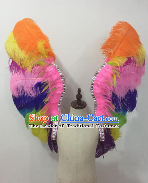 Custom-made Catwalks Props Brazilian Rio Carnival Samba Dance Colorful Feather Wings for Kids
