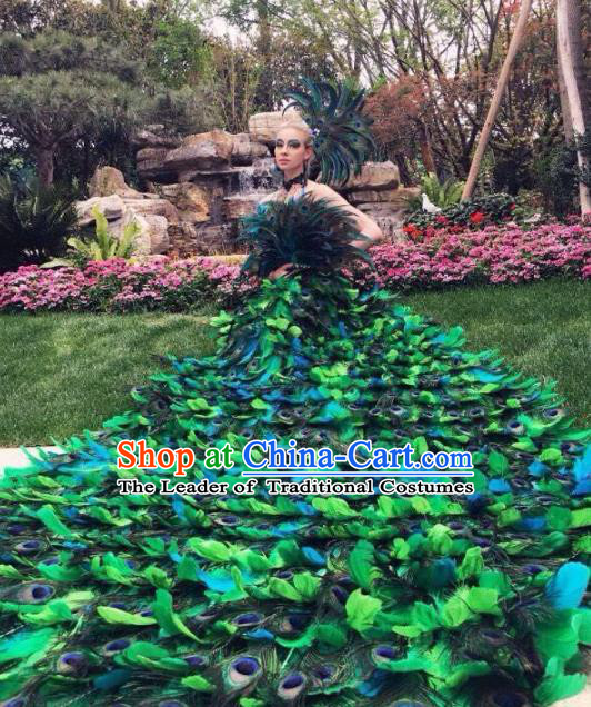 Brazilian Rio Carnival Samba Dance Costumes Catwalks Green Feather Peacock Trailing Dress for Women