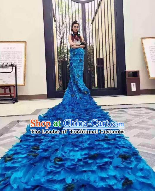 Brazilian Rio Carnival Samba Dance Costumes Catwalks Blue Feather Peacock Trailing Dress for Women