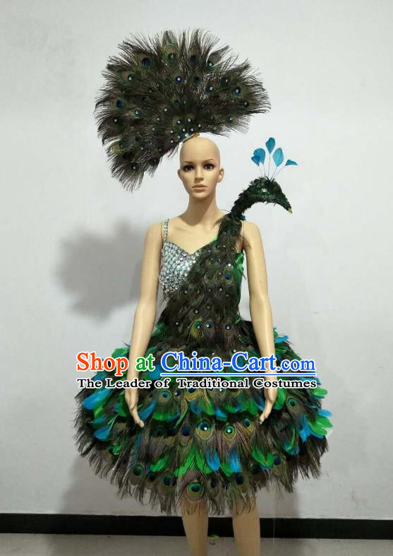 Brazilian Rio Carnival Samba Dance Costumes Catwalks Green Feather Peacock Dress for Women