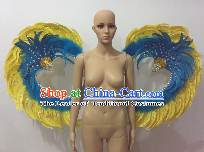Custom-made Catwalks Props Brazilian Rio Carnival Samba Dance Yellow Feather Wings for Women