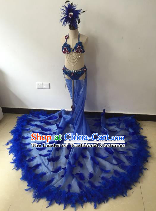 Brazilian Rio Carnival Samba Dance Costumes Catwalks Blue Feather Trailing Swimsuit Dress for Kids