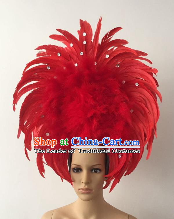 Handmade Catwalks Hair Accessories Brazilian Rio Carnival Samba Dance Red Feather Headdress for Women