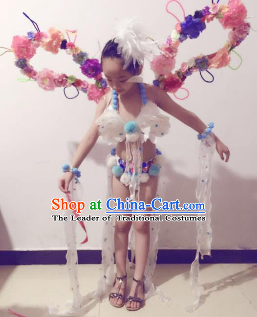 Brazilian Rio Carnival Samba Dance Costumes Catwalks Swimsuit and Flowers Wings for Kids