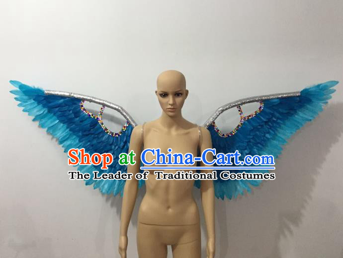 Custom-made Catwalks Props Brazilian Rio Carnival Samba Dance Blue Feather Wings for Women