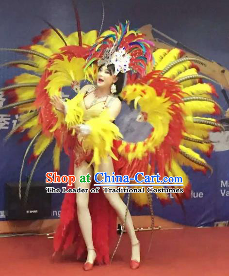 Brazilian Rio Carnival Samba Dance Costumes Catwalks Swimsuit and Feather Wings for Women