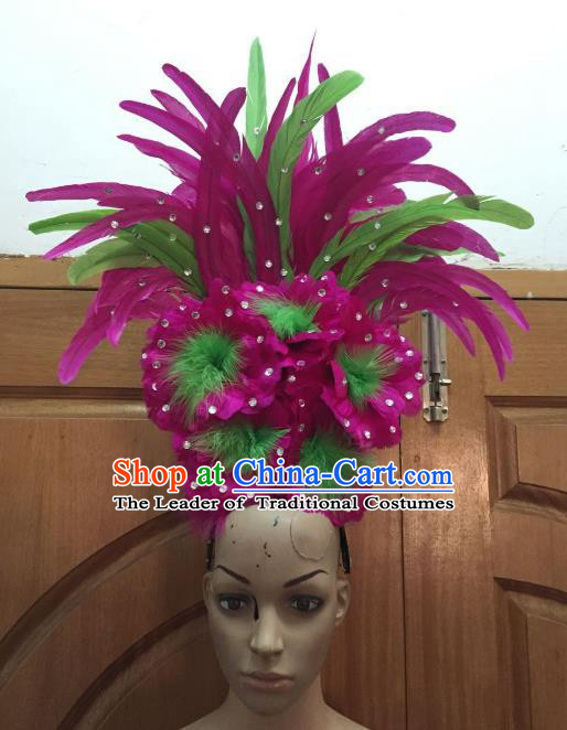 Handmade Samba Dance Hair Accessories Brazilian Rio Carnival Deluxe Rosy Feather Flowers Headdress for Women