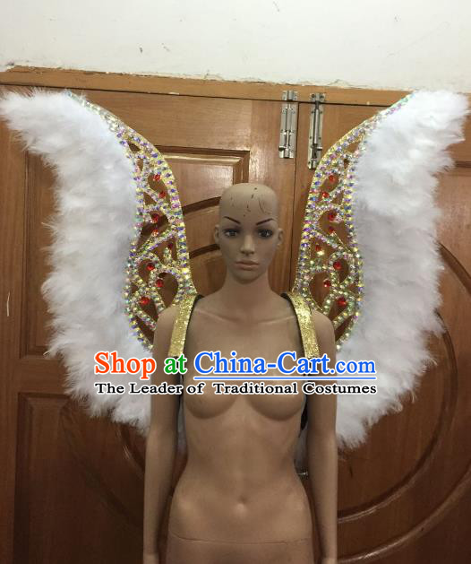 Custom-made Catwalks Props Brazilian Rio Carnival Samba Dance White Feather Wings for Women