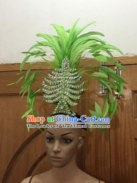 Handmade Samba Dance Deluxe Green Feather Hair Accessories Brazilian Rio Carnival Headdress for Women