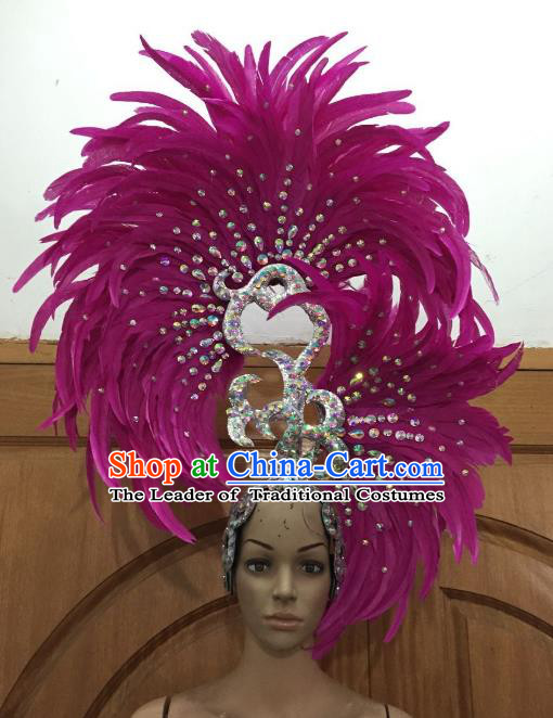 Handmade Samba Dance Deluxe Rosy Feather Hair Accessories Brazilian Rio Carnival Headdress for Women