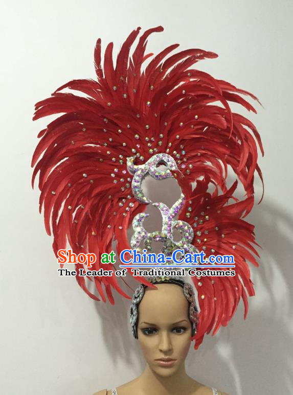 Handmade Samba Dance Deluxe Red Feather Hair Accessories Brazilian Rio Carnival Headdress for Women