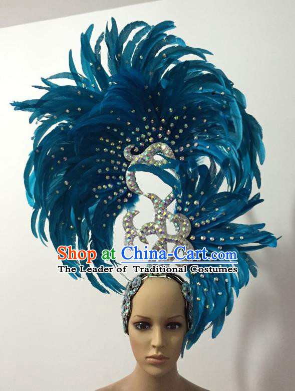 Handmade Samba Dance Deluxe Blue Feather Hair Accessories Brazilian Rio Carnival Headdress for Women