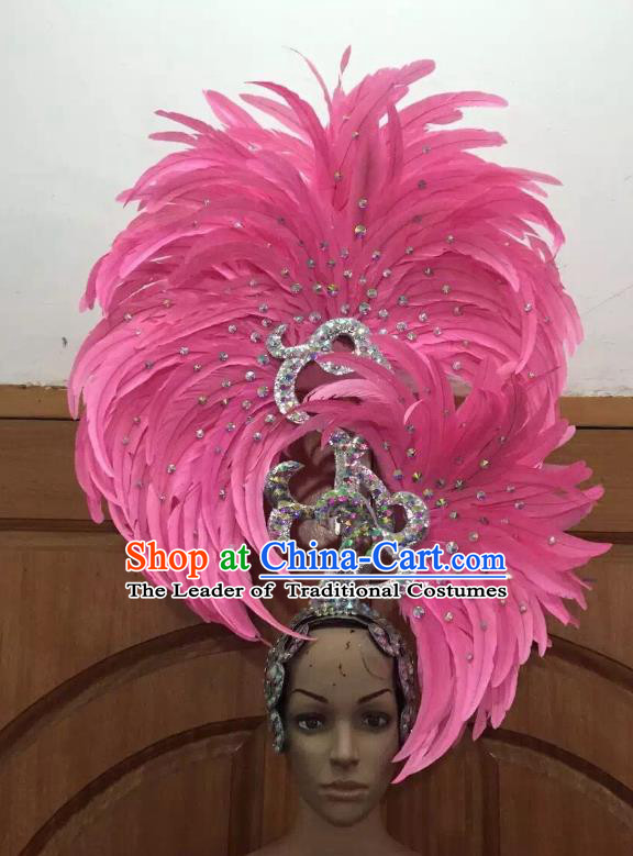 Handmade Samba Dance Deluxe Pink Feather Hair Accessories Brazilian Rio Carnival Headdress for Women