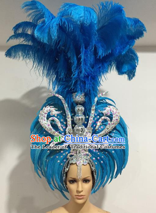 Brazilian Carnival Catwalks Blue Feather Headdress Rio Samba Dance Deluxe Hair Accessories for Women