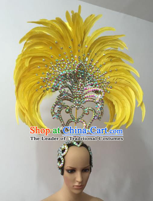 Brazilian Rio Carnival Samba Dance Yellow Feather Headdress Stage Performance Headwear for Women