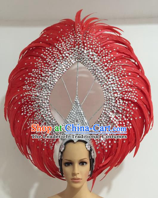Brazilian Carnival Catwalks Red Feather Diamante Headdress Rio Samba Dance Deluxe Hair Accessories for Women