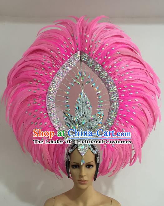 Brazilian Carnival Catwalks Pink Feather Diamante Headdress Rio Samba Dance Deluxe Hair Accessories for Women