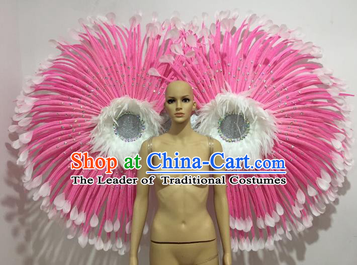 Brazilian Catwalks Props Rio Carnival Samba Dance Pink Feather Wings for Women