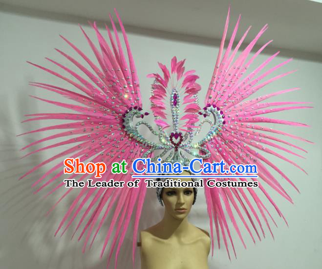 Brazilian Carnival Rio Samba Dance Pink Feather Headdress Miami Catwalks Deluxe Hair Accessories for Women