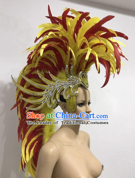 Brazilian Carnival Rio Samba Dance Yellow and Red Feather Headdress Miami Catwalks Deluxe Hair Accessories for Men
