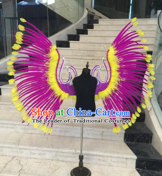 Brazilian Samba Dance Props Rio Carnival Miami Catwalks Rosy Feather Wings for Kids