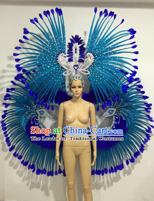 Brazilian Samba Dance Props Rio Carnival Miami Catwalks Blue Feather Wings and Headdress for Adults