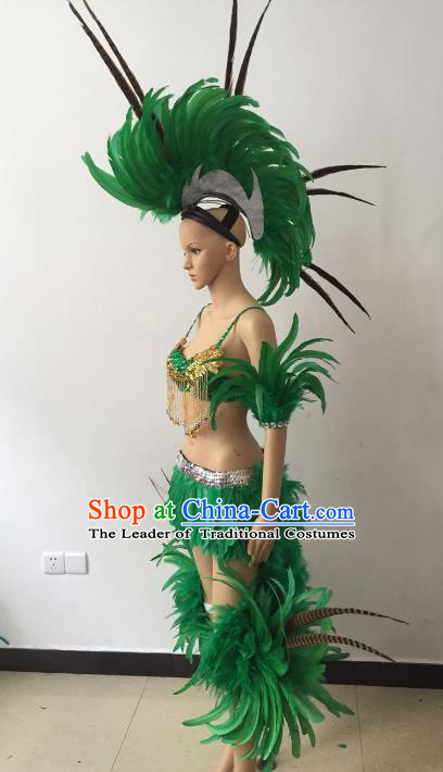 Brazilian Carnival Samba Dance Catwalks Costumes Swimsuit and Green Feather Headdress for Women