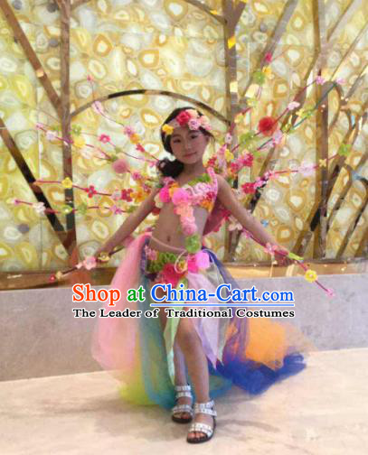 Brazilian Carnival Samba Dance Catwalks Costumes Trailing Flowers Swimsuit and Props for Kids