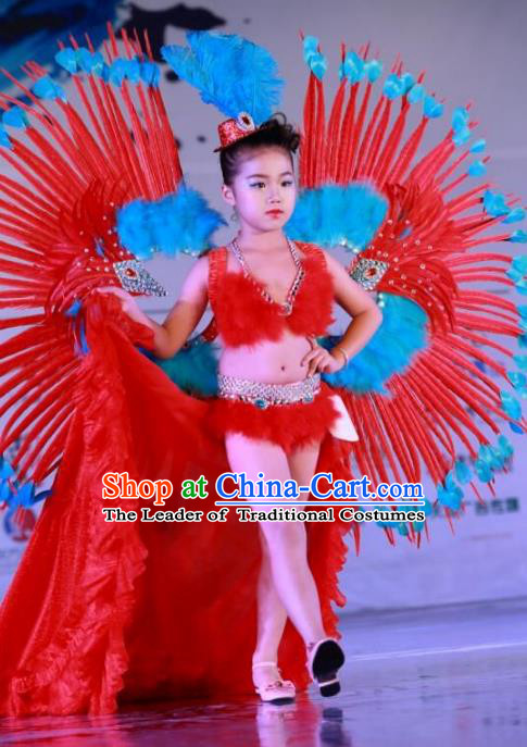Brazilian Rio Carnival Samba Dance Costumes Catwalks Trailing Red Feather Swimsuit and Wings for Kids