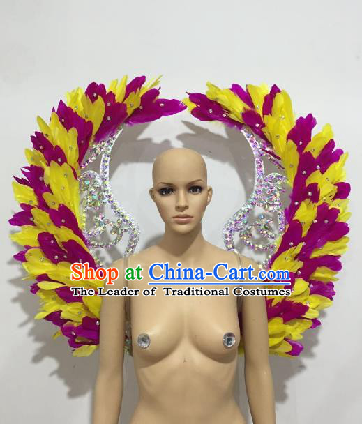 Brazilian Rio Carnival Samba Dance Props Catwalks Rosy and Yellow Feather Wings for Adults