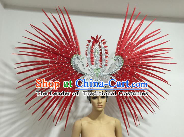 Red Feather Brazilian Carnival Rio Samba Dance Headdress Miami Catwalks Deluxe Hair Accessories for Women