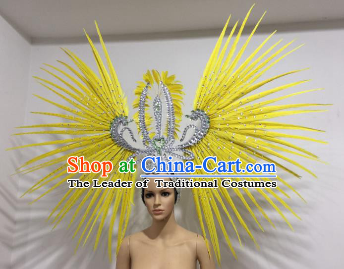 Brazilian Carnival Rio Samba Dance Yellow Feather Headdress Miami Catwalks Deluxe Hair Accessories for Women