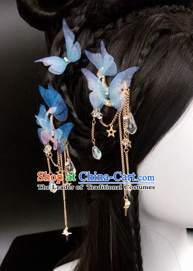 Chinese Traditional Hair Accessories Ancient Butterfly Hair Sticks Hairpins for Women
