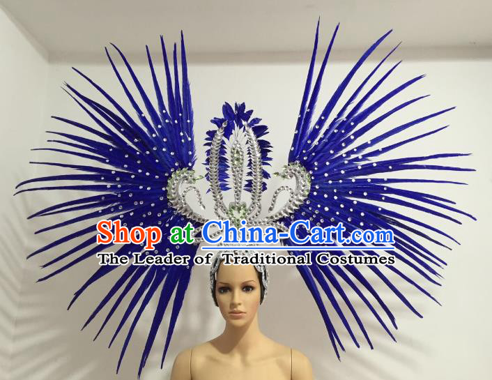 Brazilian Carnival Rio Samba Dance Royalblue Feather Headdress Miami Catwalks Deluxe Hair Accessories for Women