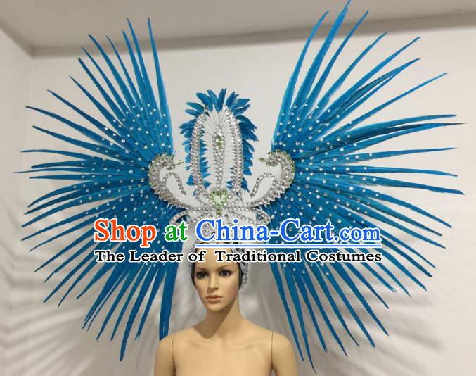 Brazilian Carnival Rio Samba Dance Blue Feather Headdress Miami Catwalks Deluxe Hair Accessories for Women