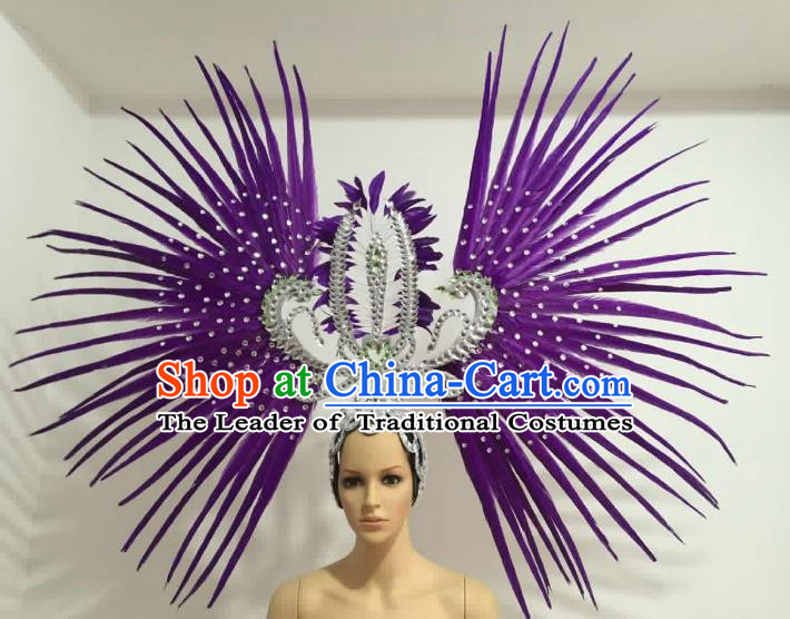 Brazilian Carnival Rio Samba Dance Purple Feather Headdress Miami Catwalks Deluxe Hair Accessories for Women
