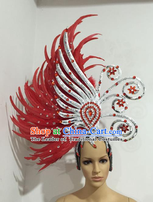 Brazilian Samba Dance Queen Hair Accessories Rio Carnival Red Feather Deluxe Headwear for Women