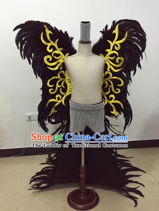 Brazilian Rio Carnival Samba Dance Costume Catwalks Black Feather Wings for Kids