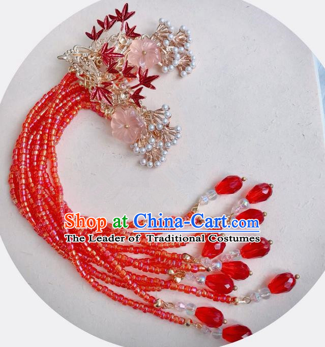 Chinese Traditional Hair Accessories Ancient Red Beads Tassel Hair Stick Hairpins for Women