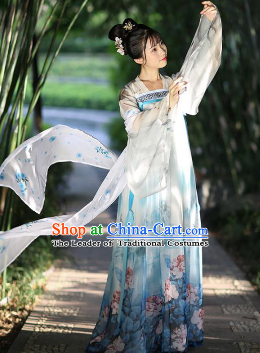 Chinese Ancient Peri Hanfu Dress Tang Dynasty Princess Embroidered Costumes for Women