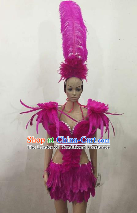 Brazilian Rio Carnival Samba Dance Costumes Catwalks Purple Feather Swimsuit and Headdress for Women
