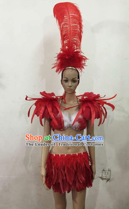 Brazilian Rio Carnival Samba Dance Costumes Catwalks Red Feather Swimsuit and Headdress for Women