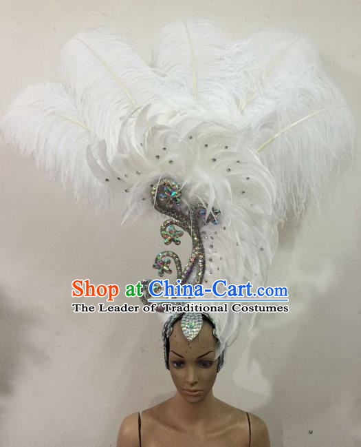 Customized Samba Dance Deluxe White Feather Hair Accessories Brazilian Rio Carnival Headdress for Women