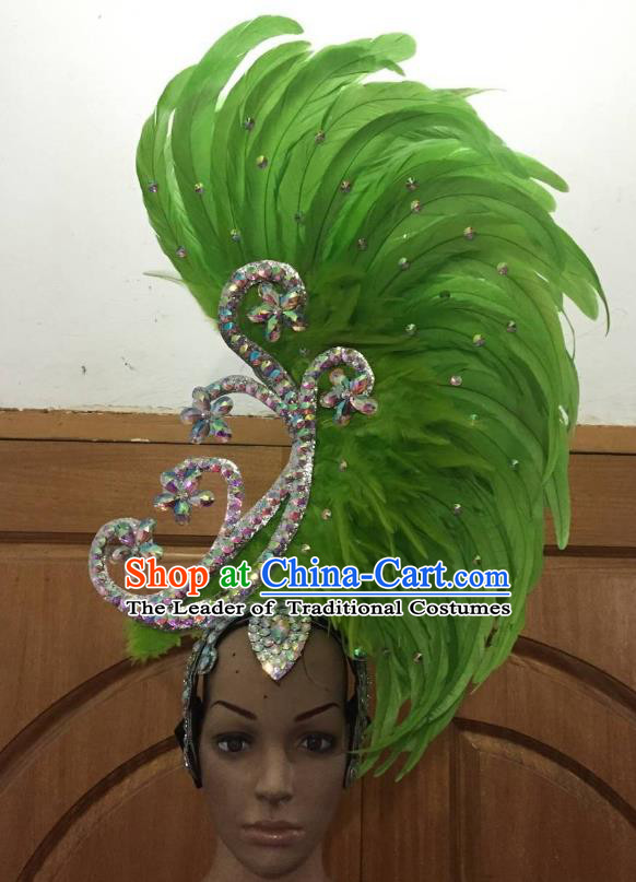 Deluxe Green Feather Customized Samba Dance Hair Accessories Brazilian Rio Carnival Headdress for Women